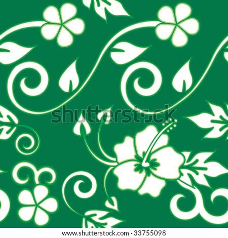 Hawaiian Flower Pattern Seamless Hawaiian Flower