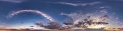Seamless hdri panorama 360 degrees angle view blue evening sky with beautiful clouds before sunset with zenith for use in 3d graphics or game development as sky dome or edit drone shot