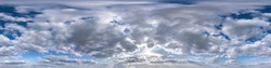 Seamless hdri panorama 360 degrees angle view blue overcast sky with beautiful fluffy cumulus clouds without ground for use in 3d graphics or game development as sky dome or edit drone shot