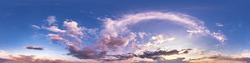 Seamless hdri panorama 360 degrees angle view blue pink evening sky with beautiful clouds before sunset with zenith for use in 3d graphics or game development as sky dome or edit drone shot