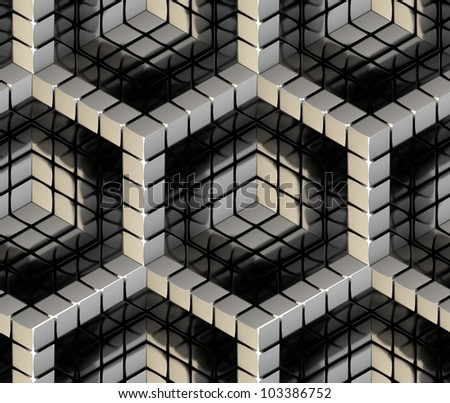 Seamless hexagon cube background texture abstract backdrop
