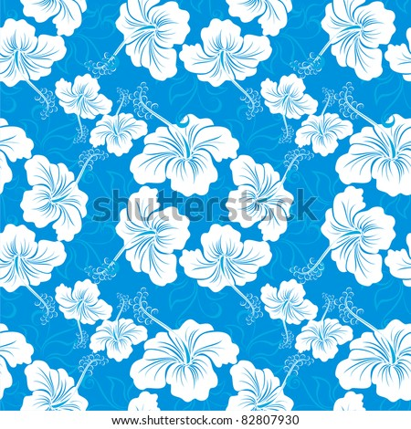 Seamless hibiscus flower background . Hawaiian patterns