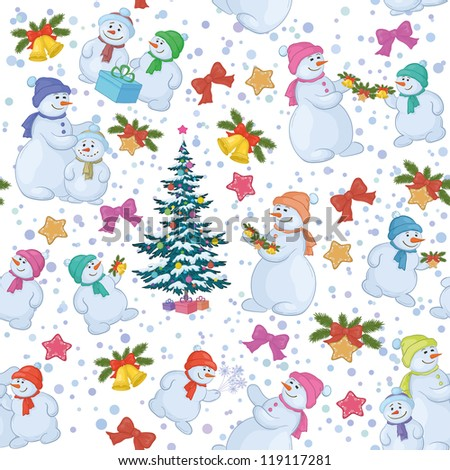Seamless holiday background: Christmas tree and cartoon snowman with gifts