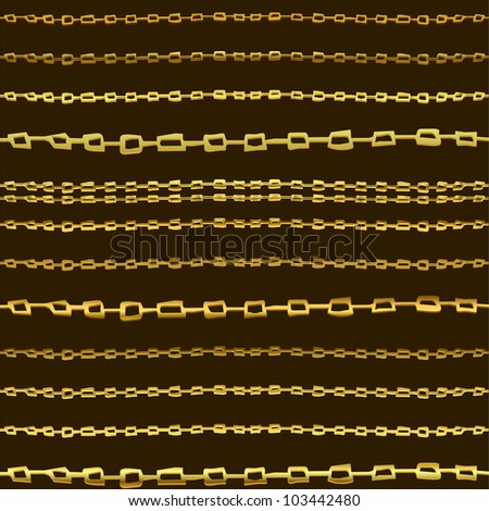 Seamless horizontal background with gold hand drawn chains.