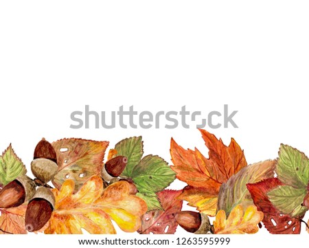 Seamless horizontal border of autumn leaves and acorns. Watercolor