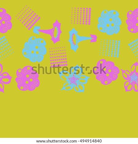 Seamless   horizontal  pattern of  stylized floral motif,halftone.