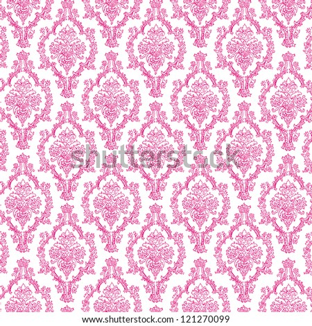 Seamless Hot Pink & White Damask