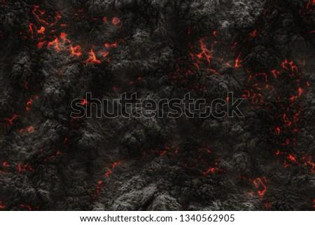 Seamless hot texture. Danger terrain heat- 3d illustration fluid metal. Burning coals- crack surface. Abstract nature pattern- glow faded flame.
