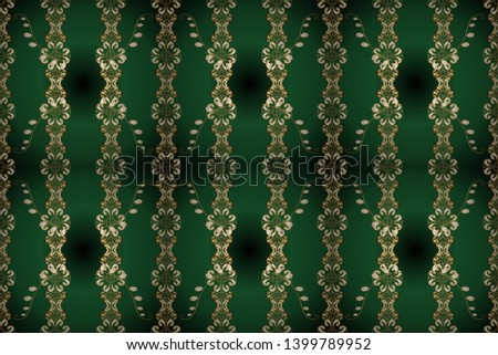 Seamless in Baroque style. Classic style. Raster illustration. Patterns on green and blue colors. Beautiful pattern for textile, scrapbooking. Graceful, delicate ornamentation in the Rococo style.
