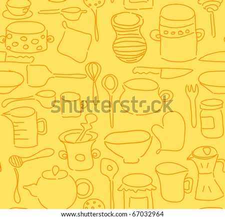 Seamless kitchen utensils doodle. Vector also available in my portfolio.