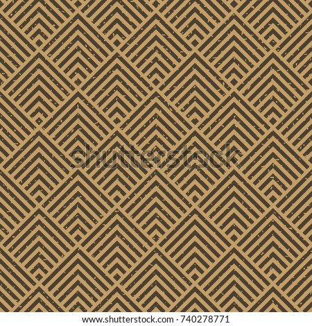 Seamless kraft paper brown and black grunge art deco square chevrons pattern