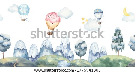 Seamless landscape pattern for kids design with mountains, balloons, snow-covered trees, stars, moon. watercolor illustration on white background. Illustration for greeting cards, interior.