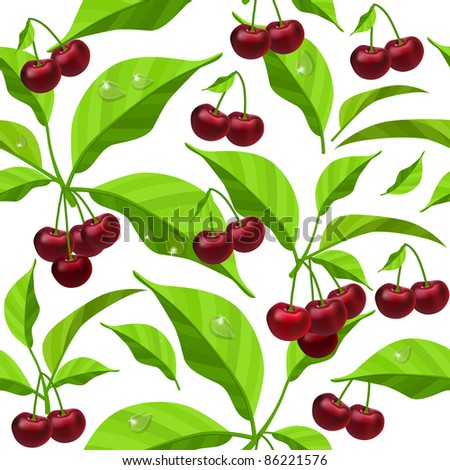 Seamless leaves and red berries on white background. Raster version.