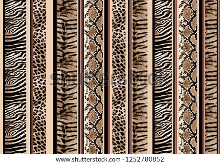 seamless leopard, snake, tiger, zebra skins stripe pattern. dot, line