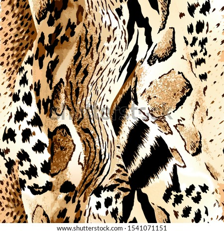 Seamless leopard, tiger, giraffe, zebra texture, mix animals texture Foto stock ©