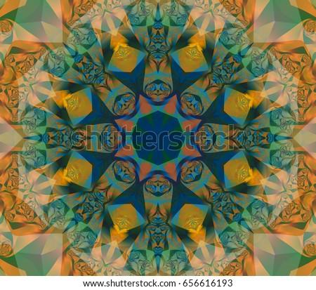 Seamless lime kaleidoscope texture. Illustration for design.