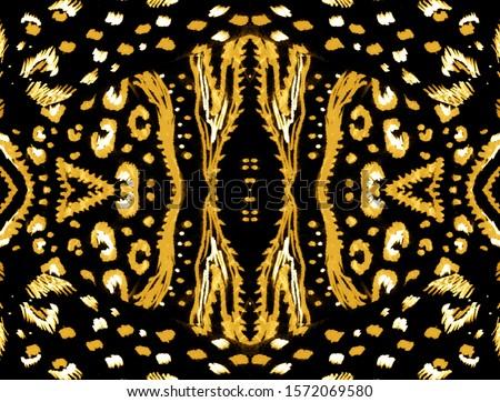 Seamless Lion. Animal Textiles Jungle. Metallic Seamless Kaleidoscope. African Fur Pattern. Brown Animal Reptile Pattern. Decorative Color Art. Artist Painting Watercolor.