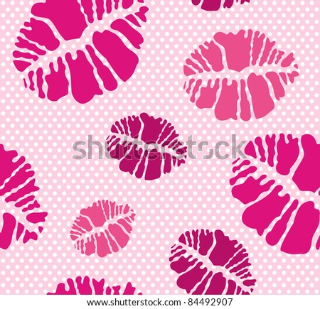 Seamless Lipstick Kiss Print Pattern In Different Pink Tones Stock