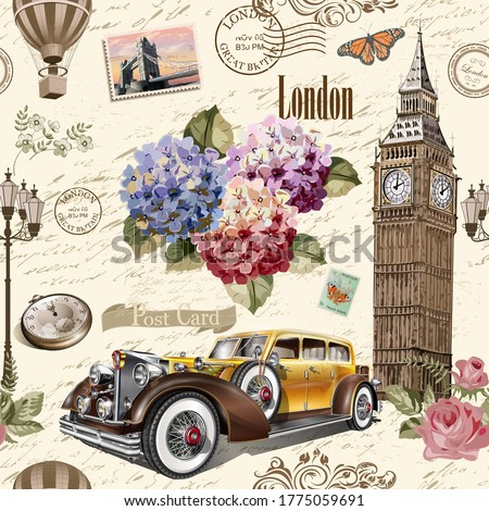 Seamless London vintage  background with retro car, roses and London symbols.