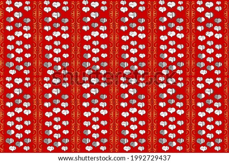 Seamless love pattern. Love repeated backdrop for girl, textile, clothes. Sketch heart elements on white, red and gray colors. Raster illustration. Wrapping paper. Valentine':s day.