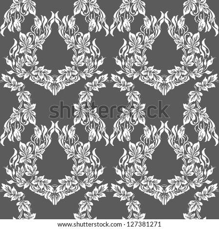 Seamless luxury damask pattern on gray background