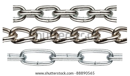 Seamless metal chain parts on white background