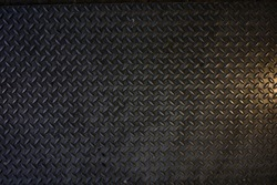 Seamless Metal Floor Plate With Diamond Pattern.Black metal background or black steel surface