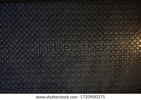Seamless Metal Floor Plate With Diamond Pattern.Black metal background or black steel surface stock photo