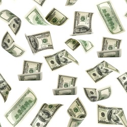 Seamless money pattern. Dollar bill. Washington American cash. Usd money isolated on white background.