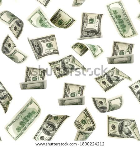Seamless money pattern. Dollar bill. Washington American cash. Usd money isolated on white background. Zdjęcia stock ©