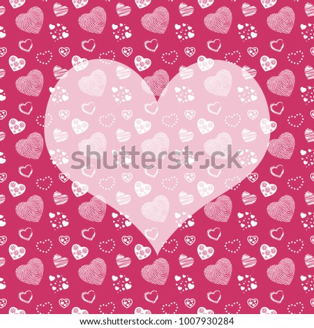 Seamless monochrome pattern with hearts on black background