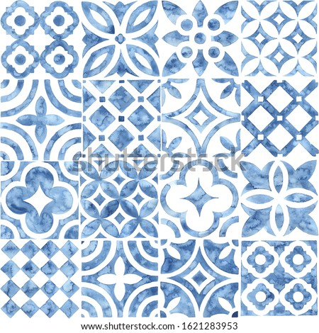 Seamless moroccan pattern. Square vintage tile. Blue and white watercolor ornament painted with paint on paper. Handmade. Print for textiles. Seth grunge texture. Foto stock ©