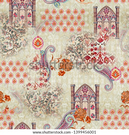 Seamless mughal with floral floral pattern on digital background