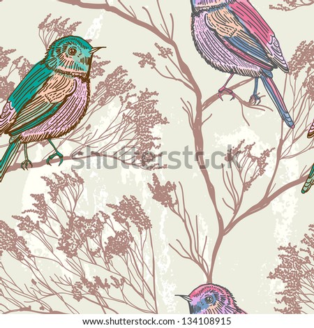 Seamless natural background with birds, retro colors
