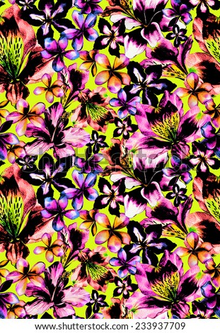 seamless neon tropical pattern young and trendy block print look made of exotic flower heads looks like a flowerbed very dramatic with hibiscus frangipani alstroemeria lily flowers