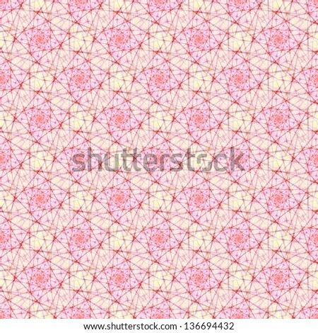Seamless Neural Network / Digital abstract fractal image with a seamless tiled design in pink, red and white.