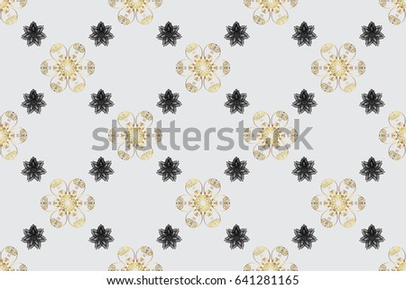 Seamless oriental ornament in the style of baroque. Traditional classic raster golden seamless pattern. Gray background with golden elements.
