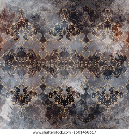 Seamless ornamental background. Seamless classic pattern with vintage grunge texture and baroque elements for textile design and fabrics