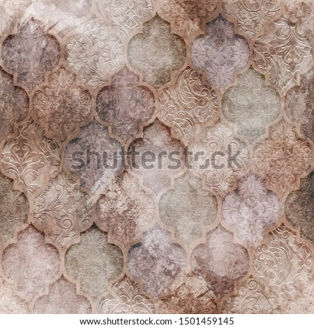 Seamless ornamental background. Seamless classic pattern with vintage grunge texture for textile design and fabrics
