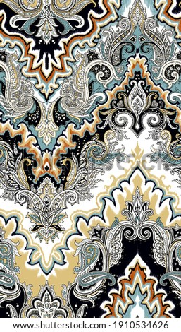 Seamless ornamental pattern Bohemian style indian pattern in green yellow and blue Trendy eastern design for fabric and interior textiles Paisley colorful design Vintage hand drawn ornate illustration