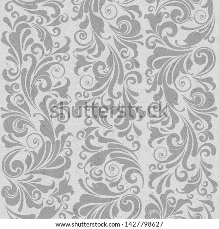 Seamless ornate baroque gray color pattern