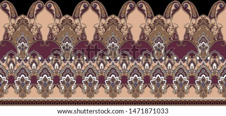 seamless ornate horizontal pattern with tooth,curls small elementts on black background-illustration