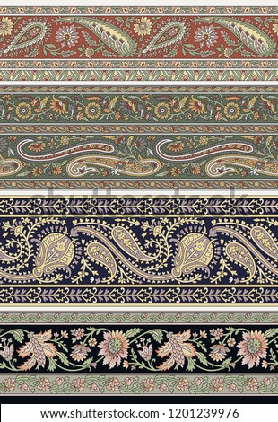 Seamless Paisley Indian Silky boder