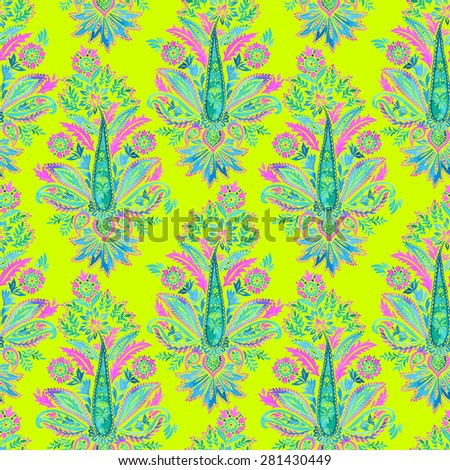 Stock Photo seamless paisley pattern. beautiful paisley motifs, Indian ornamental traditional floral motifs in allover half-drop composition. for fashion or interior.