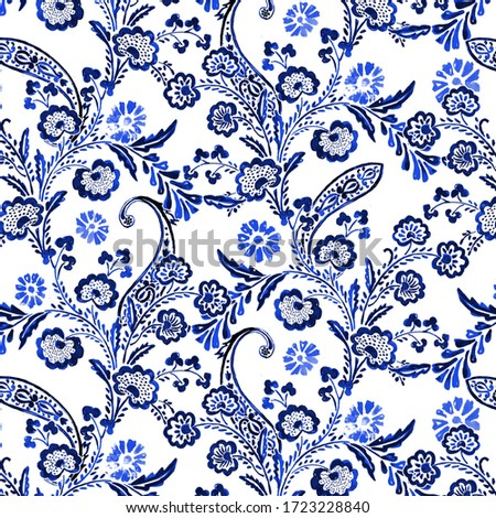 seamless paisley pattern. ethnic paisley pattern and folk flowers. detailed beautiful paisleys with floral elements background. Painted in blue/indigo.