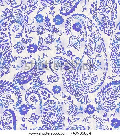 seamless paisley pattern with beautifully balanced composition.  Stamped classic paisley allover design. blue indigo Indian cucumber pattern. blue paisley on white.