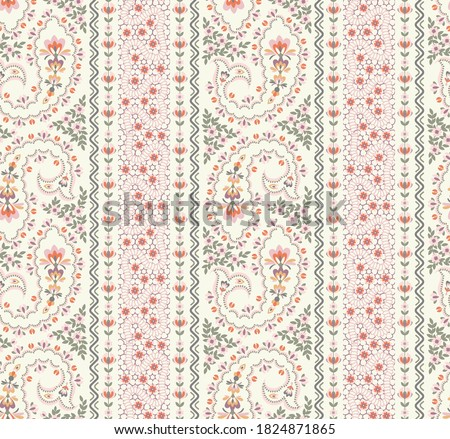 seamless paisley striped pattern with trend colors for bed linen .textiles, fabrics, greeting cards and scrapbooking,shawl Photo stock ©