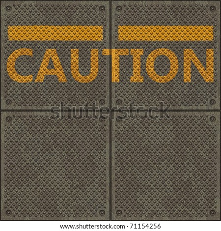 Seamless panel texture with a warning yellow line and the word CAUTION - stock photo