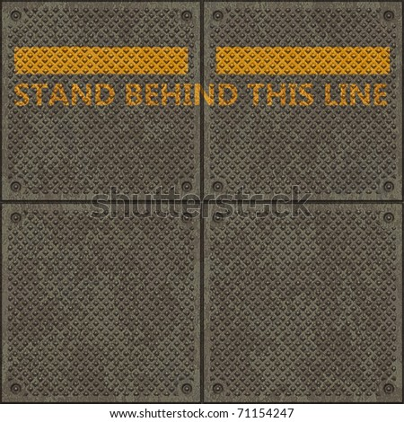 "Seamless panel texture with a warning yellow line and the words ""STAND BEHIND THIS LINE"""