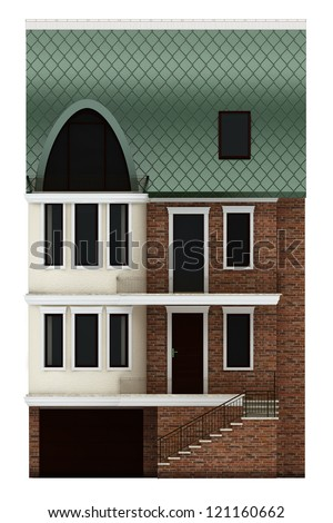 seamless part of the facade terraced houses with the main entrance, terrace and garage. Isolated on white background
